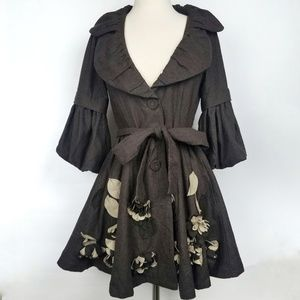 Ryu Belted Ruffle Floral Applique Jacket S